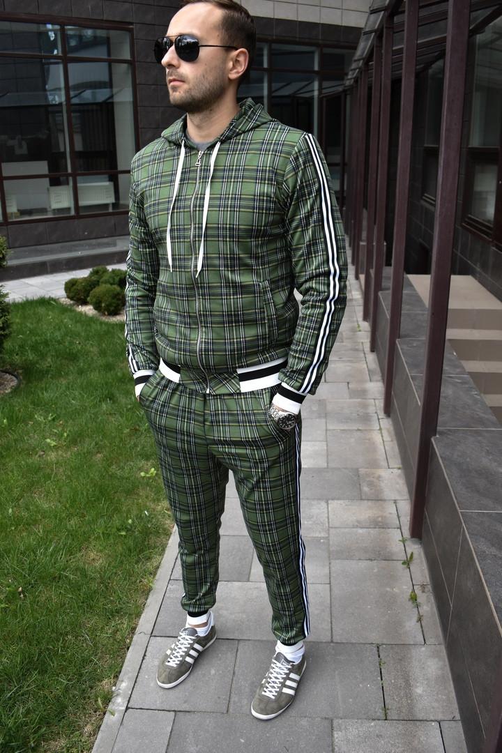 Чоловічий зелений спортивний костюм в клітину Джентльмен