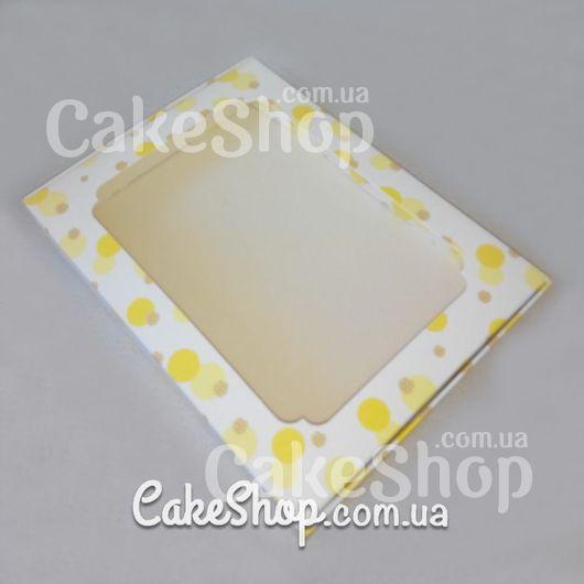 Коробка для десертов с рисунком 20*15*3 Желтая