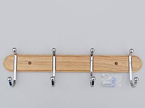 Длина 40 см. Вешалка настенная ВНДХ4 дерево+металл на 4 крючка