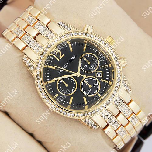 Элегантные наручные часы Michael Kors crystal Gold/Black 1692
