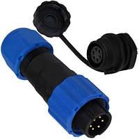 Комплект разъёмов герметичных 16мм 6pin (штекер кабельный - гнездо монтажное)