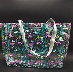 Прозрачная стильная сумка - фламинго
