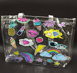 Прозрачная стильная сумка - очки -помада-губки-