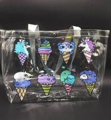 Прозрачная стильная сумка - мороженное