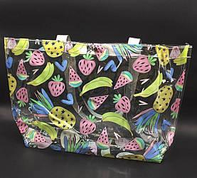 Прозрачная стильная сумка - фрукты