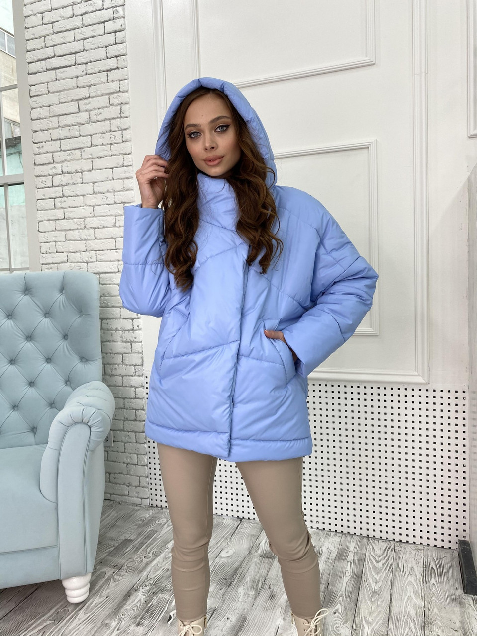 """Крута куртка """"УНО"""" з плащової тканини 10671"""