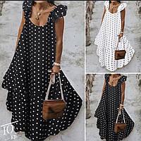 Женское платье сарафан летнее принт горошек в пол свободного кроя для беременных красивое чёрное белье