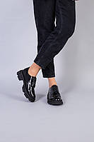 Женские кожаные туфли черные на шнурках
