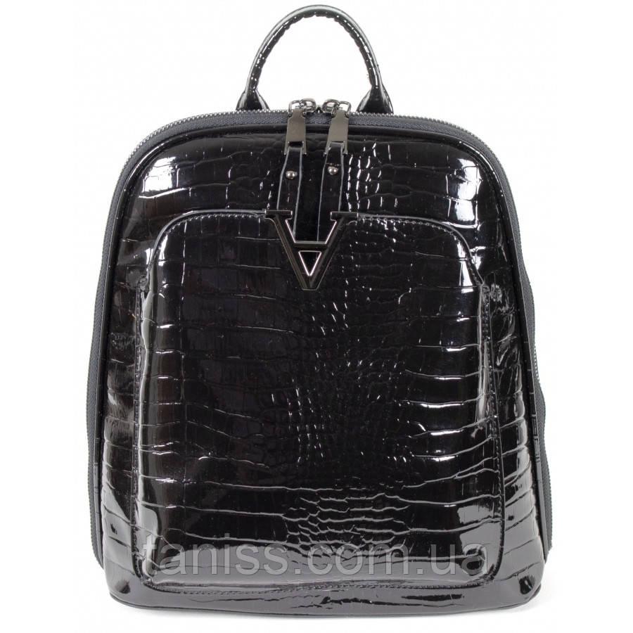 Женская,стильная сумка-рюкзак,материал эко-кожа и лак  ,одна короткая ручка, 2 лямки, три отделения (8701)