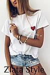Жіноча футболка, турецький кулір, р-р універсальний 42-46 (білий), фото 3