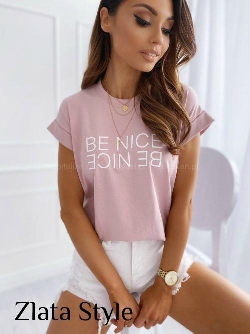 Женская футболка, турецкий хлопок, р-р универсальный 42-46 (пудровый)