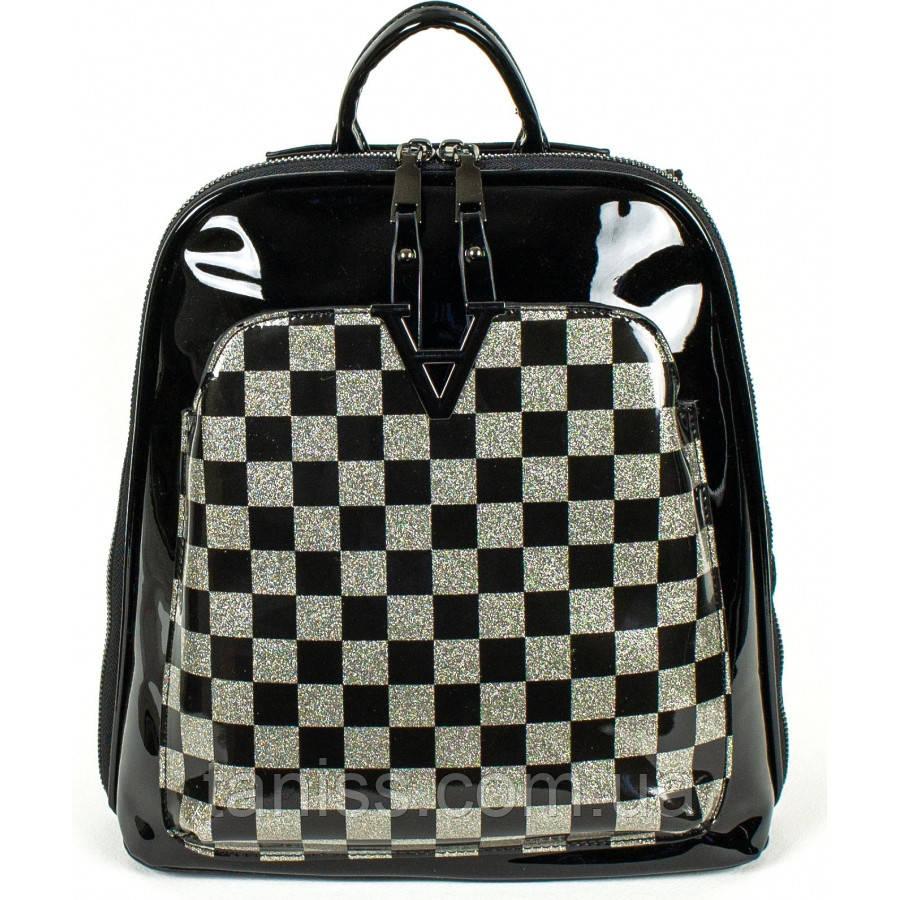 Жіноча,стильна сумка-рюкзак,матеріал еко-шкіра, лак ,одна коротка ручка, 2 лямки, три відділення (8701)