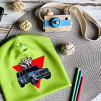Детская демисезонная трикотажная шапка с принтом блогера Влад Бумага A4 (AM-7)
