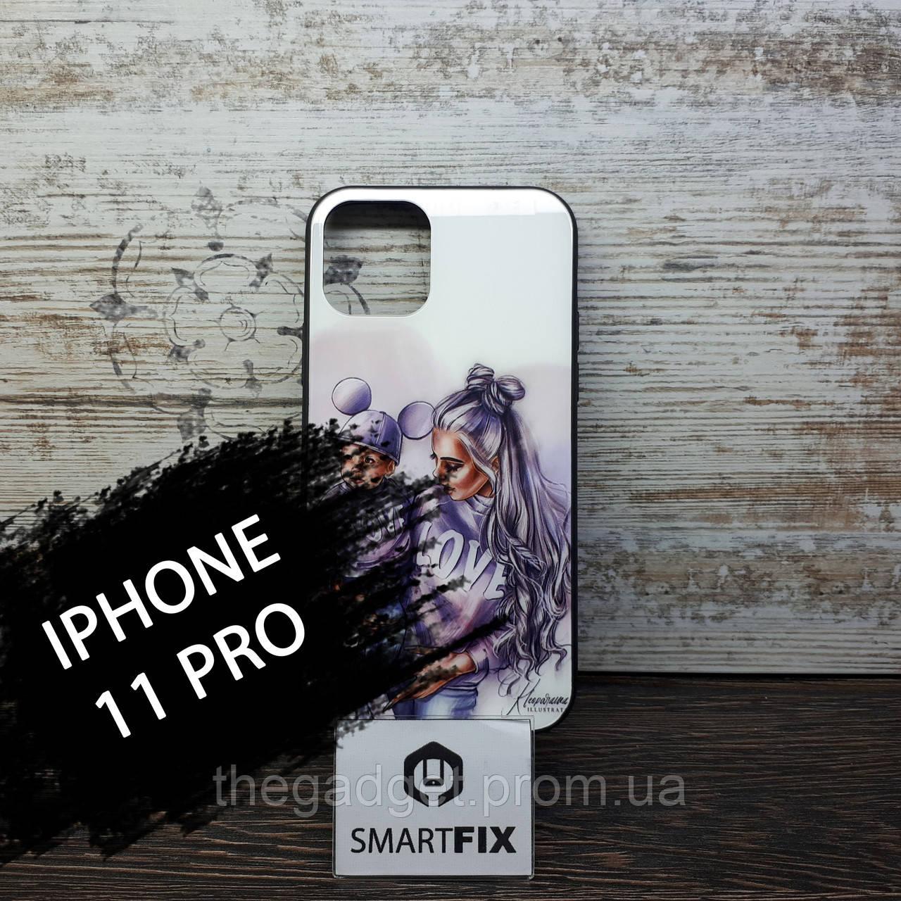 Силиконовый чехол с рисунком под стеклом для iPhone 11 Pro Girls Case дизайн №1