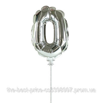 Шарик цифра в торт серебро 0
