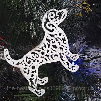 Прикраса Собака Ажурна пластик 12х9см (білий)