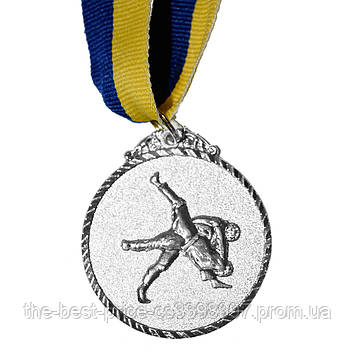 Медаль наградная Единоборства Д5см Серебро