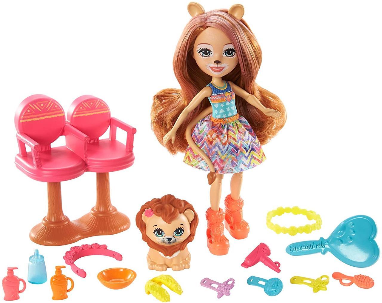 Кукла Enchantimals Энчантималс Стильный салон львенка Лейси меняет цвет волос GTM29