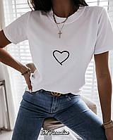 Летняя футболка женская с хлопка черная бежевая пудровый белая 42-46 сердце