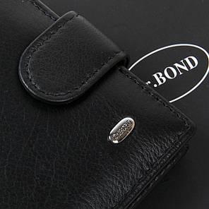 Кошелек кожаный мужской черный на кнопке с блоками для катр Dr. Bond MS-29, фото 2