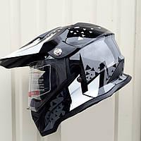 Кроссовый мото  Шлем эндуро  Чёрно-серый F2 Rider Cross c визиром размер S, фото 1