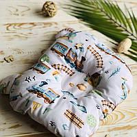 """Ортопедична подушка """"Метелик"""" у вигляді Ведмедика """"Паровози"""" для новонародженого Lukoshkino (8072LUK-8)"""