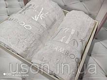 Набір махрових рушників бамбук 50*90 і 70*140 TM BELIZZA Туреччина Pure білий