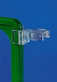 Прозрачный держатель плакатных рамок на трубу диаметром 28-30 мм.