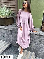 Стильное женское свободное платье миди с завышенной талией Разные цвета