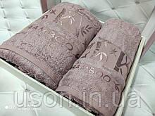 Набір махрових рушників бамбук 50*90 і 70*140 TM BELIZZA Туреччина Pure какао