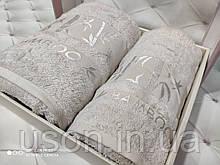 Набір махрових рушників бамбук 50*90 і 70*140 TM BELIZZA Туреччина Pure кремовий