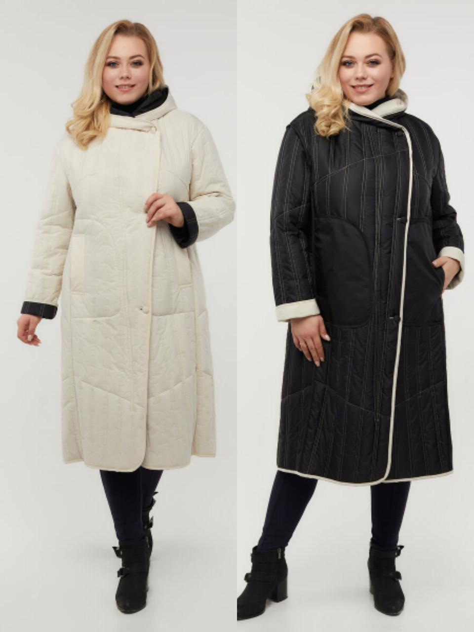 Женское двухстороннее стеганое пальто больших размеров 48-64