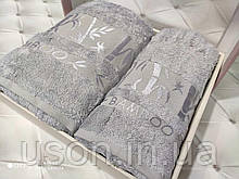 Набір махрових рушників бамбук 50*90 і 70*140 TM BELIZZA Туреччина Pure сірий