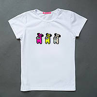 Белая футболка для девочки Амонг Ас Among Us Shining SmileTime