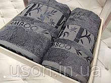 Набір махрових рушників бамбук 50*90 і 70*140 TM BELIZZA Туреччина Pure антрацит