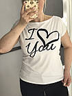 Жіноча футболка, норма 42-44, 46-48рр , I love You, чорний, фото 2