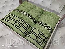 Набір махрових рушників Спів 50*90 і 70*140 TM BELIZZA Туреччина Grecee зелений