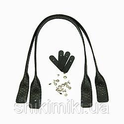 Ручки скрученные на винтах (эко-кожа), 65 см, цвет черный питон