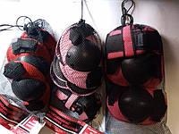 Защита комплект для роликовых коньков скейтов самокатов наколенники налокотники, для рук цвет розовая, красная