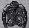 Весняна чоловіча шкіряна куртка чорна. (5104)