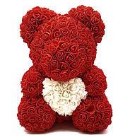 Мишка из 3D роз 40 см с сердечком в подарочной коробке Красный, цена улет