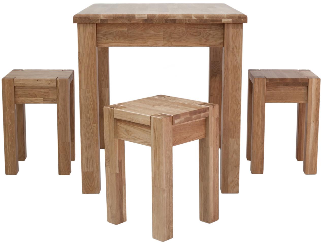 Обеденный комплект стол кухонный обеденный и 4 табурета из массива дерева 008
