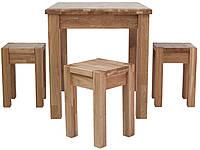 Обеденный комплект стол кухонный обеденный и 4 табурета из массива дерева дуб 008