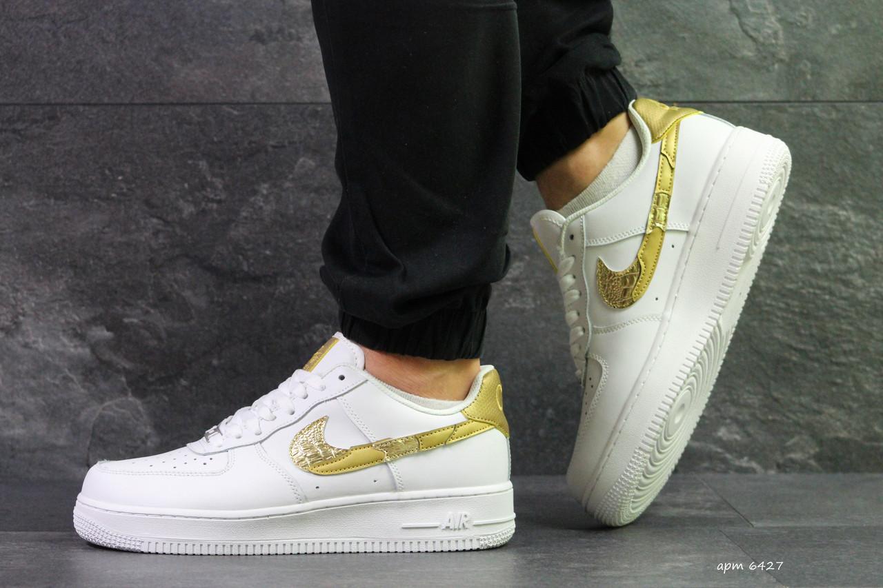 Демисезонные кроссовки Nike Air Force 1 CR7, белые с золотым