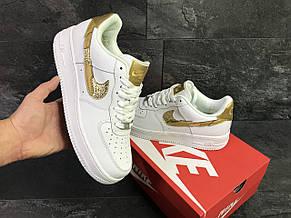 Демисезонные кроссовки Nike Air Force 1 CR7, белые с золотым, фото 3