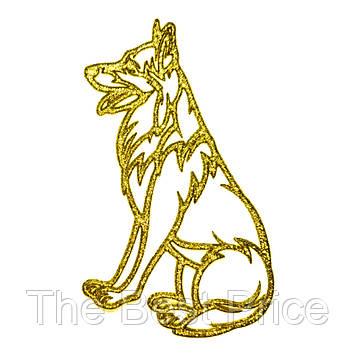 Украшение Собака Овчарка пластик 12х9см (золото)