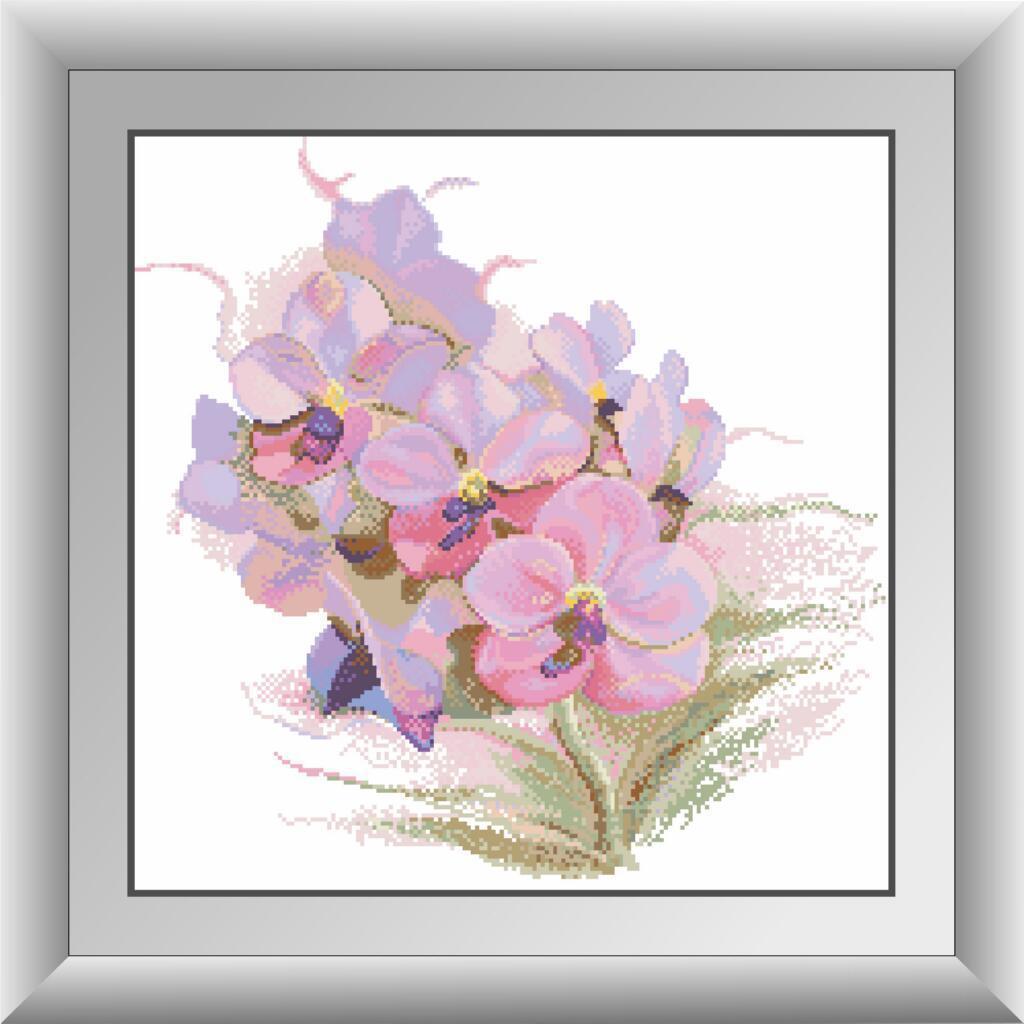 Алмазная мозаика Орхидея. Dream Art 30434 46x46см 31 цветов, квадр.стразы, полная зашивка. Набор алмазной