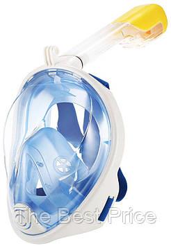 Полнолицевая панорамная маска для плавания FREE BREATH (L/XL) M2068G с креплением для камеры Голубой