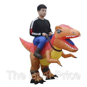Надувной костюм Всадник на Тиранозавре (оранжевый)