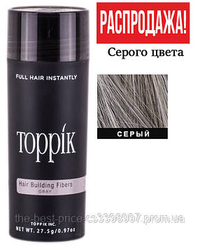 Кератиновий загусник для волосся Toppik (для маскування залисин) 27,5 г Сірий (Gray)